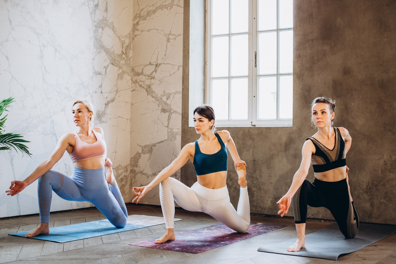 yoga class with yoga instructor