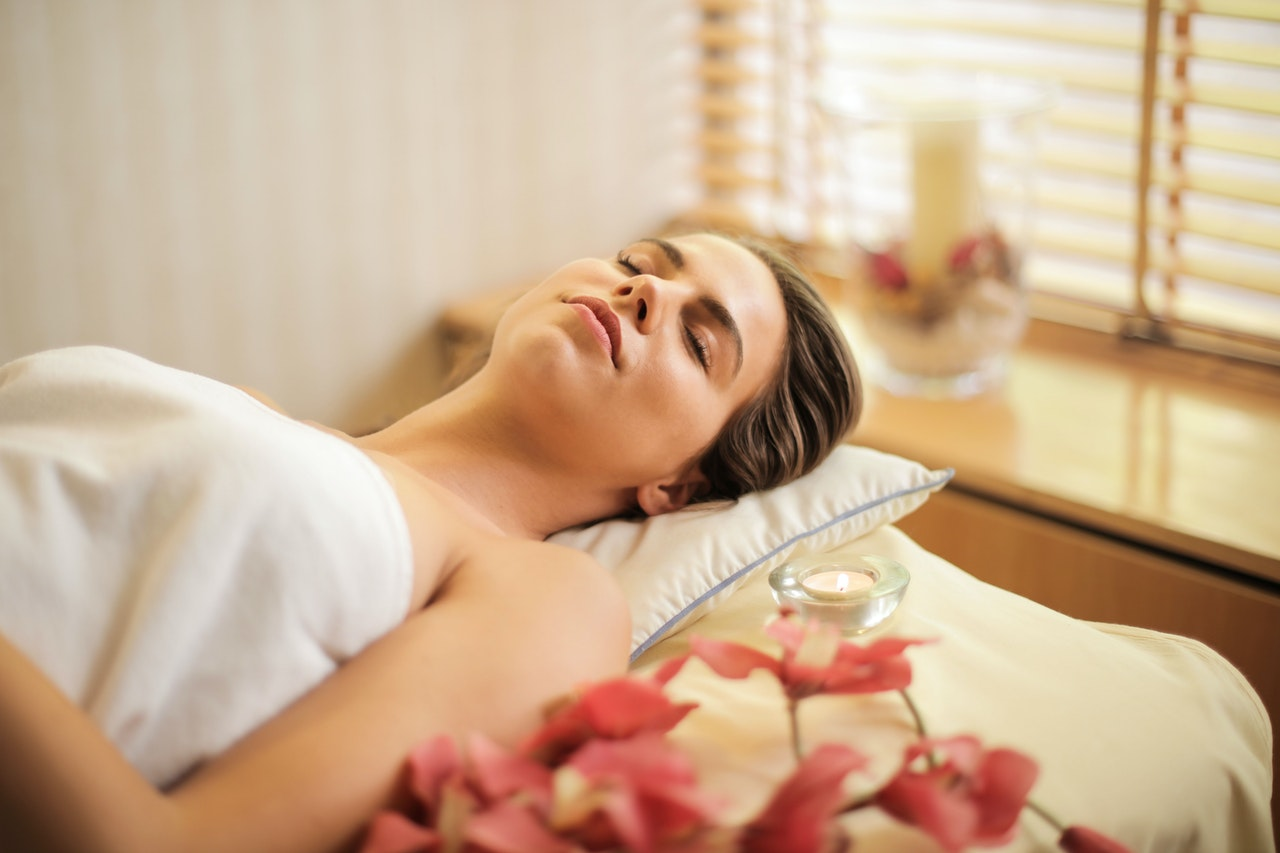 woman has spa day at home