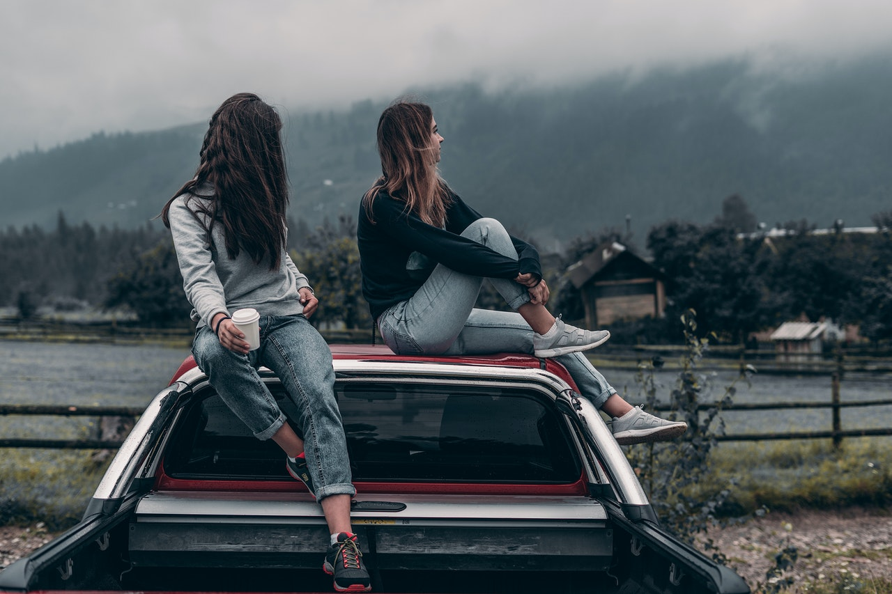 girls introvert relaxing alone